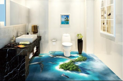 bathroom 3D flooring art designs for epoxy coating floors