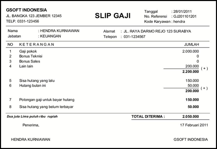 Contoh Slip Gaji Salary Slip Kumpulan