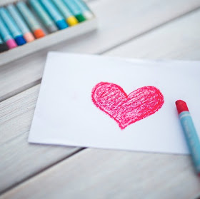 Heart drawn with crayon