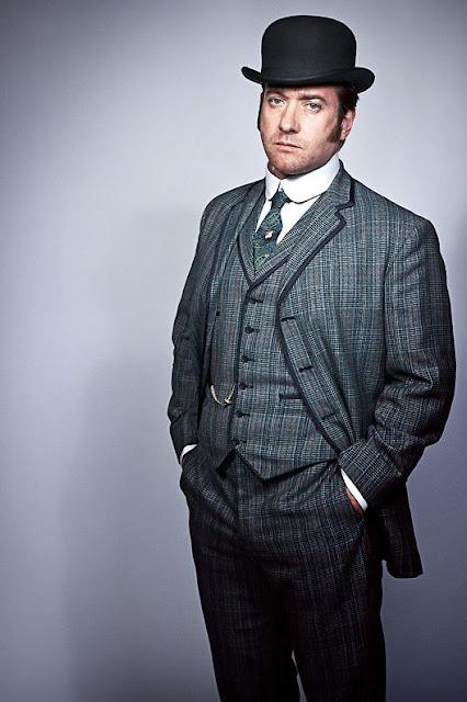 Men's Victorian cothing. Plaid suit, shirt, tie, waistcoat, jacket, pants and bowler hat. Men's steampunk clothing.