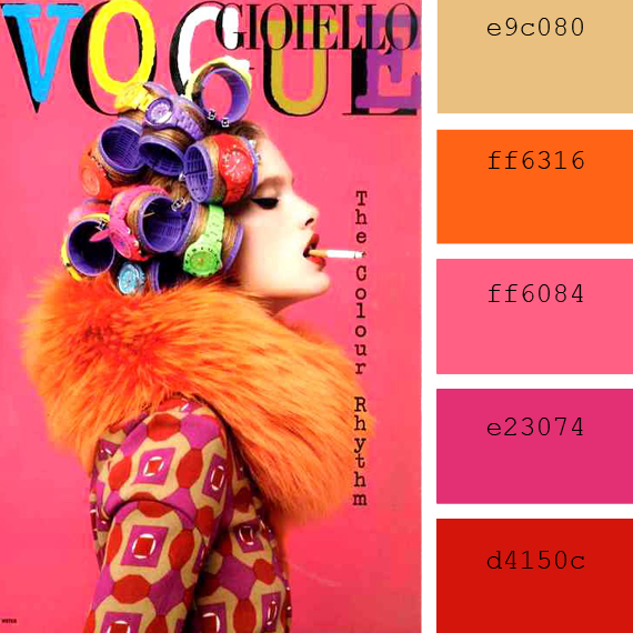 fuchsia, orange and red vogue magazine cover color inspiration