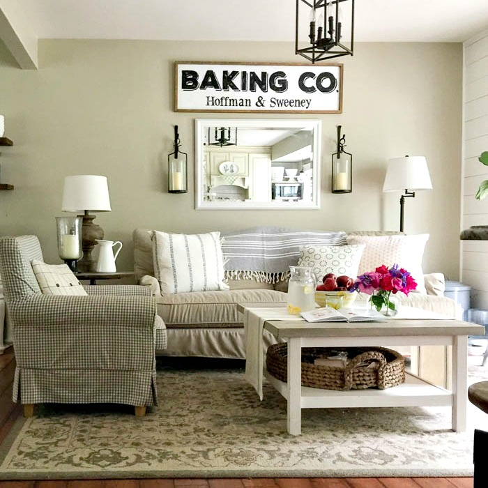 Farmhouse style summer home tour with Ikea hack coffee table and Birch Lane Montgomery sofa