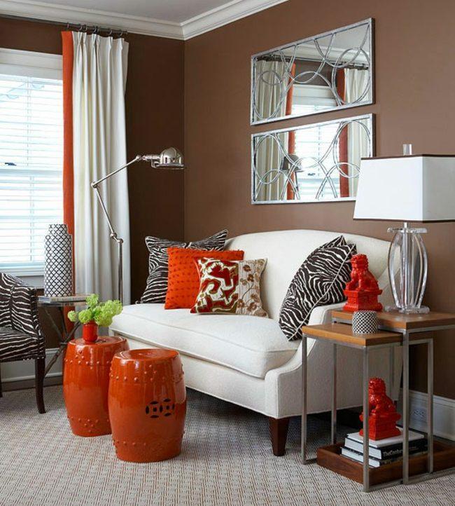 10 salas de color naranja y marr n colores en casa - Decoracion con color naranja ...