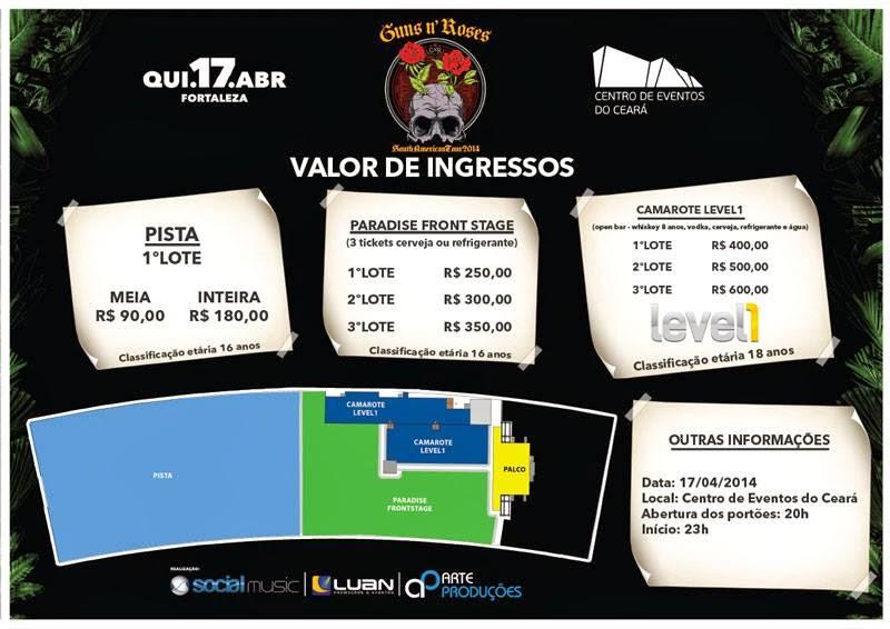 Ingressos Do Show De Guns N Roses Em Fortaleza Variam: Guns N' Roses Em Fortaleza: Divulgado Preços Dos Ingressos
