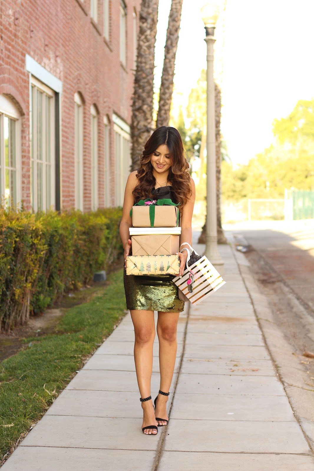 Green Sequin Skirt Outfit For Christmas Holiday Outfit