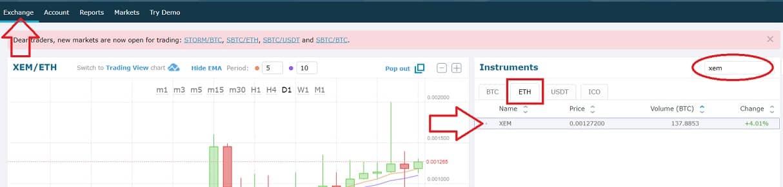 mercado de cambio exchange hitbtc nem xem y eth