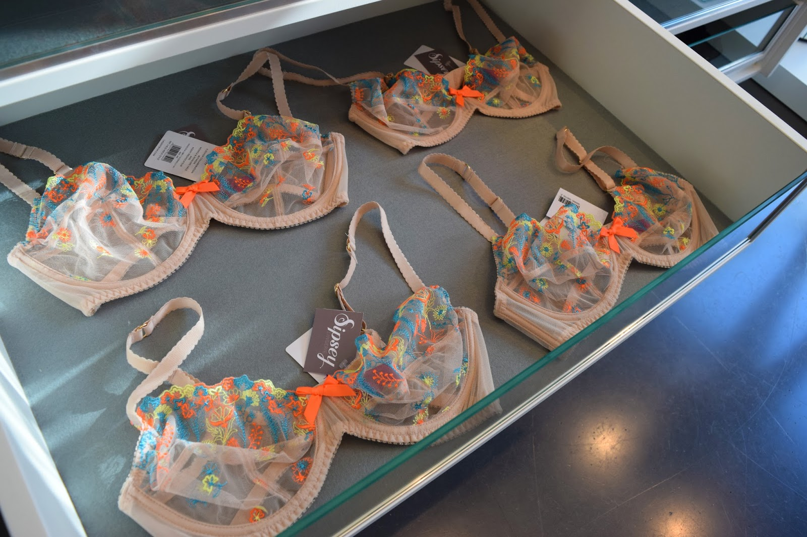 Some of the bras for sale inside Sipsey Lingerie