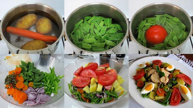 Preparación ensalada campera