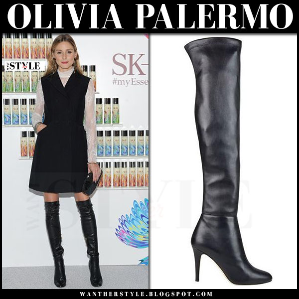Olivia Palermo in black leather jimmy choo toni thigh boots and black sleeveless coat what she wore