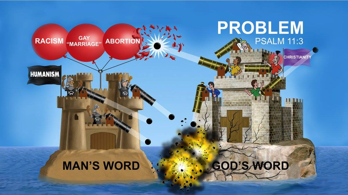 Ken Ham's Illustrations on Spiritual Warfare Against Humanism