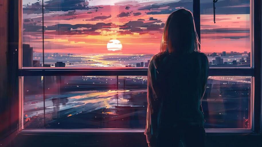 Sunset, City, Sky, Scenery, Digital Art, 4K, #6.2190