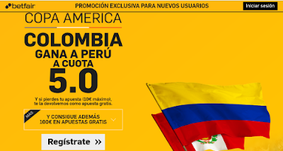 betfair Colombia gana Perú supercuota 5 Copa America 18 junio