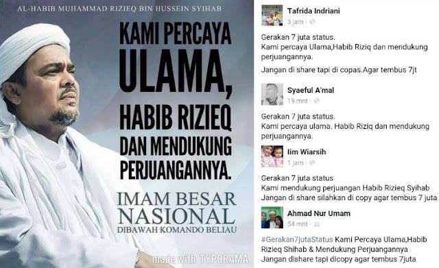"""Dahsyatnya Dukungan Umat Islam Untuk Habib Rizieq, """"Gerakan 7 Juta Status Mengguncang Sosial Media"""