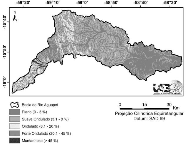 Declividades da Bacia hidrográfica do rio Aguapeí, no município de Porto Esperidião/MT