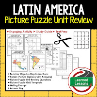 Latin America, World Geography Picture Puzzle BUNDLE, Test Prep, Unit Review, Study Guide