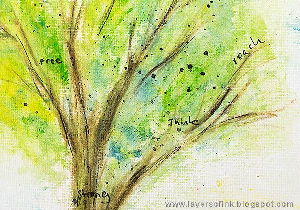 Layers of ink - Scribble Stick Tree by Anna-Karin with Dina Wakley's Media Journal and Scribble Sticks