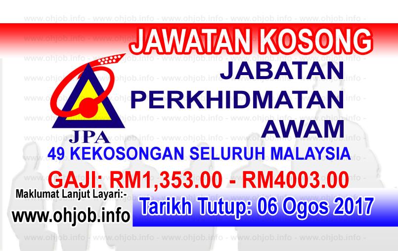 Jawatan Kerja Kosong Jabatan Perkhidmatan Awam - JPA logo www.ohjob.info ogos 2017
