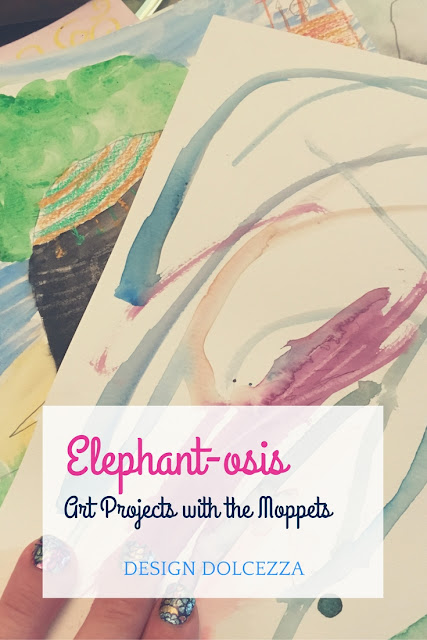 Elephant-osis: Art Projects with the Moppets.      elephant watercolor jamberry RioVibes