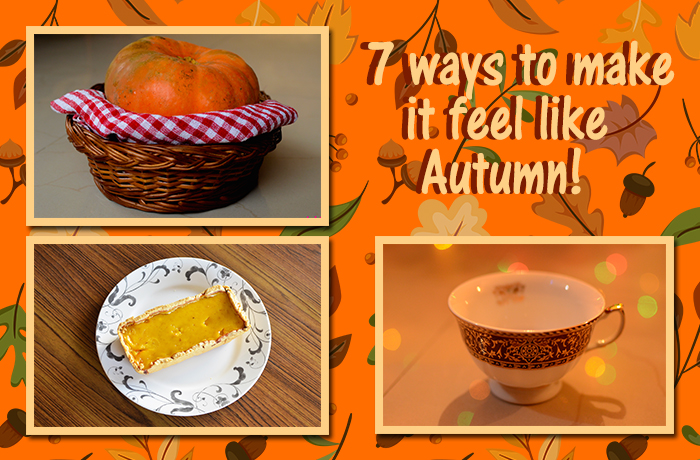 Image of a collage containing pumpkin pie, a tea cup and a pumpkin to celebrate the season of autumn