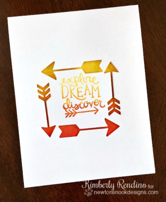 Arrow die cut Card by Kimberly Rendino | Points & Plumes dies & Adventure Awaits stamp set by Newton's Nook Designs #newtonsnook