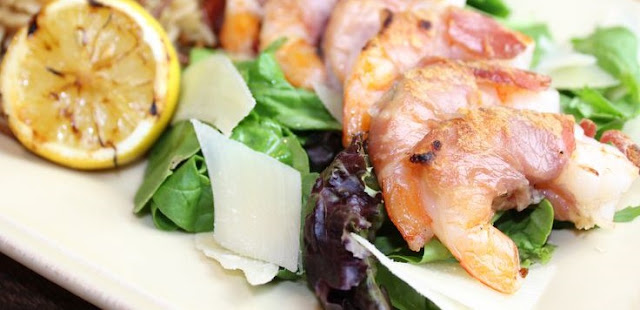 6sp - Prosciutto-Wrapped Shrimp with Arugula Salad | weight watchers