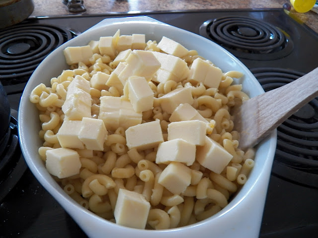 Cubed Velveeta on cooked macaroni