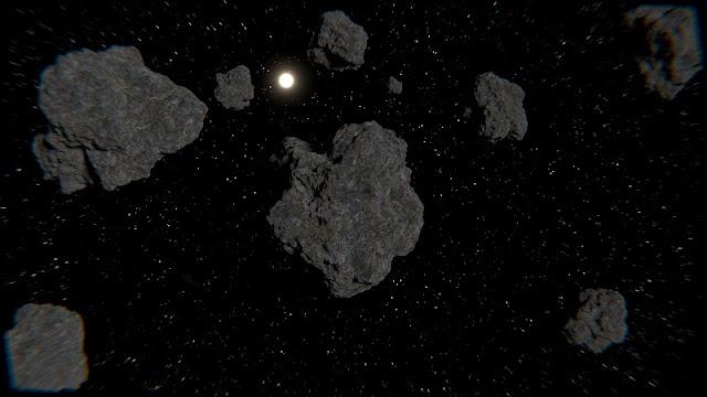 foto kumpulan asteroid di luar angkasa