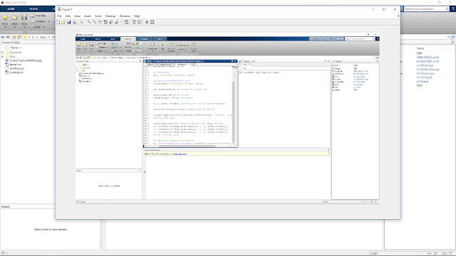 MATLAB with a figure window showing the screenshot of the current screen