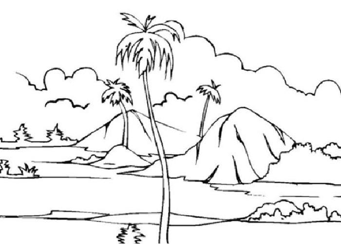 Gambar Mewarnai Pemandangan Laut Gambar Mewarnai Pemandangan