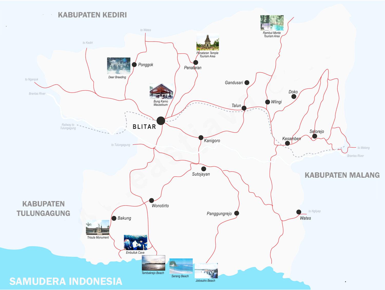 Gambar Peta Blitar Lengkap 25 Kecamatan
