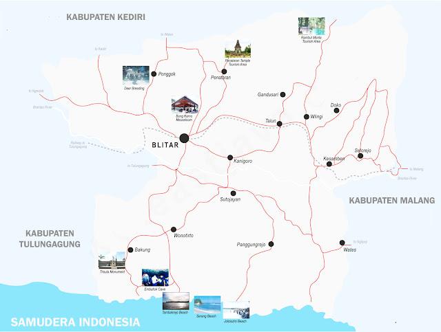 Peta Blitar Lengkap 25 Kecamatan