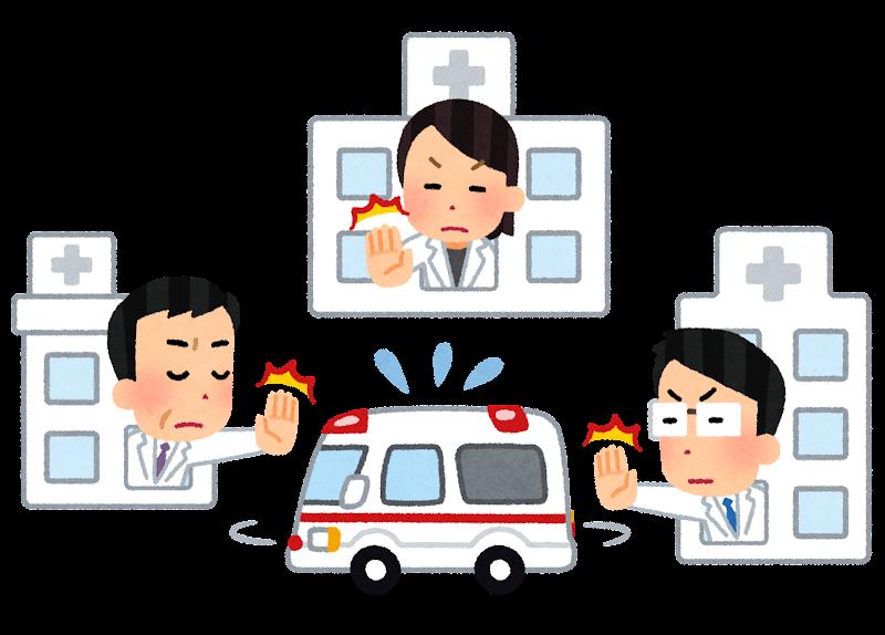 病院をたらい回しになる救急車のイラスト