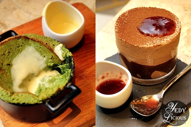 Matcha Souffle Pancake and Valrhona Guanaja 70% Dark Chocolate Soufffle with Vanilla Creme Anglaise