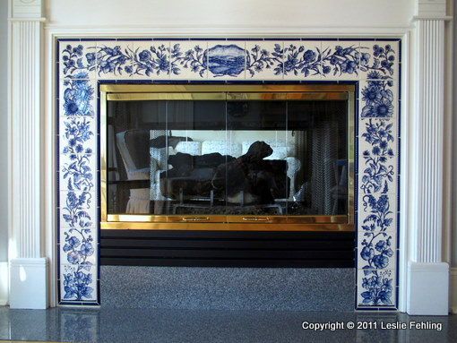 Everyday Artist Hand Painted Tile Fireplace Surround