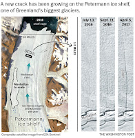 New 2016/17 crack near the center of Petermann Gletscher's ice shelf as reported by Washington Post on Apr.-14, 2017. Click to Enlarge.