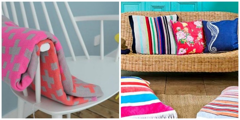 Coastal outdoor space with coastal pillows and beach towels