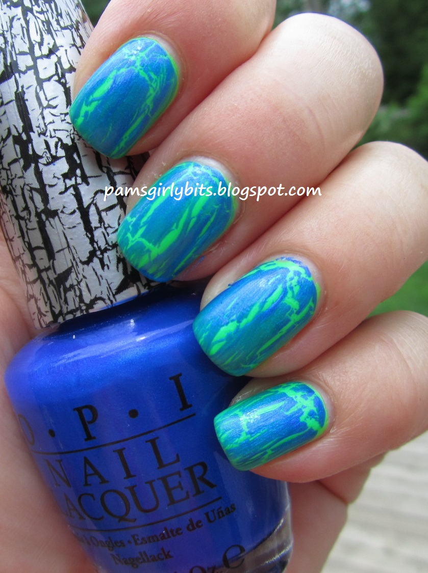 Girly Bits Color Club What A Shock Under Opi Blue Shatter