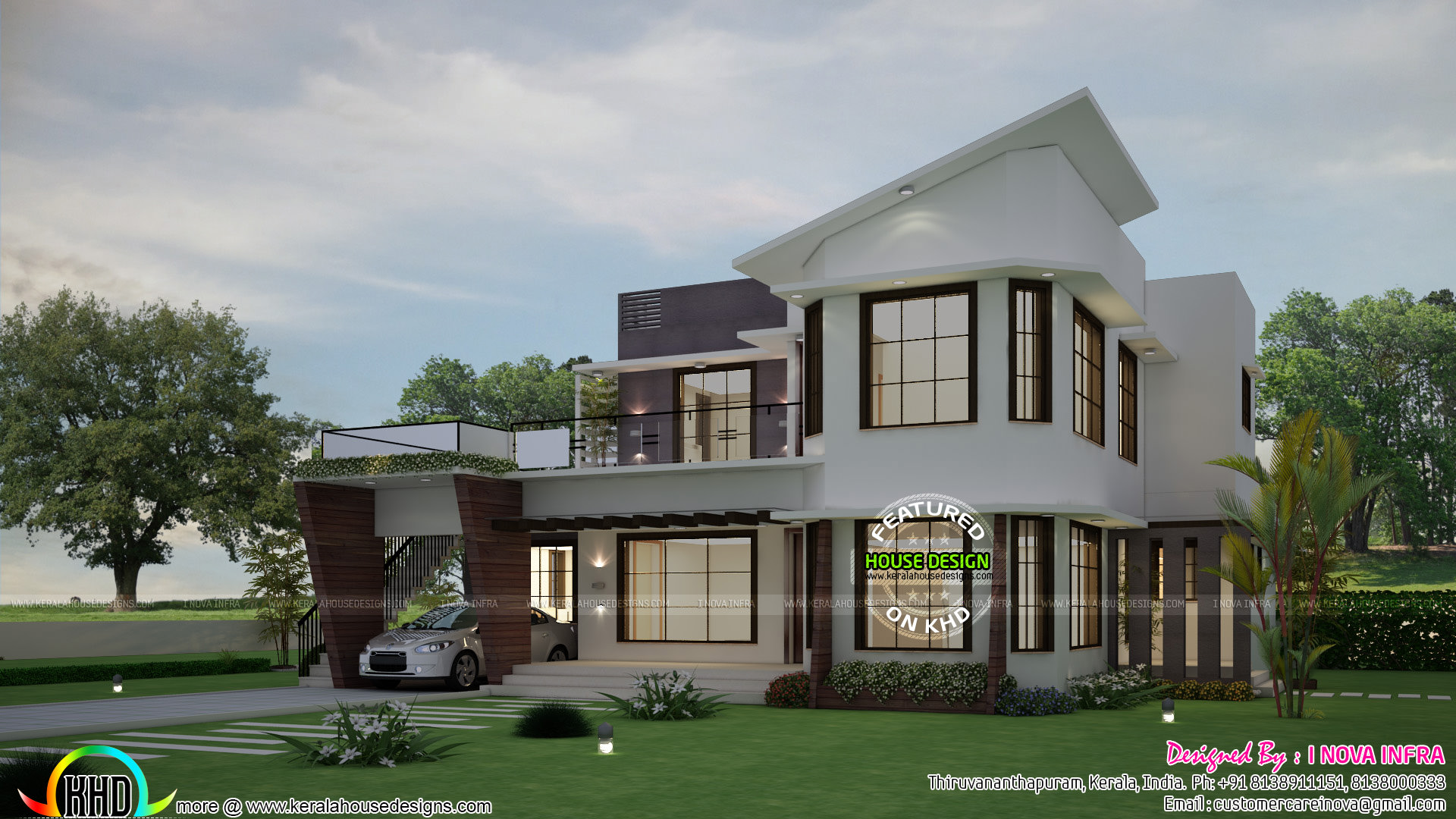 5 bhk unique modern home plan kerala home design and for Custom farmhouse plans