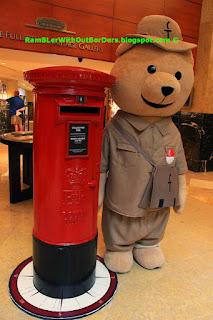 Life sized Fullerton Postmaster Bear mascot, The Fullerton Hotel, Marina Bay, Singapore