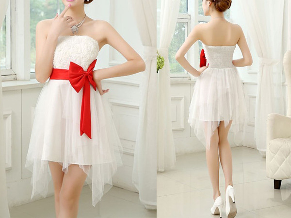 white red cocktail dress