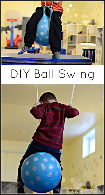 DIY ball swing sensory hack for kids from And Next Comes L