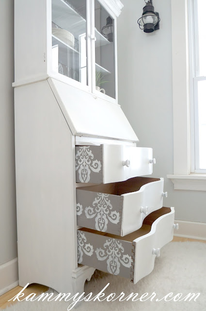 gray white hutch stenciled peek a boo drawers painted sides