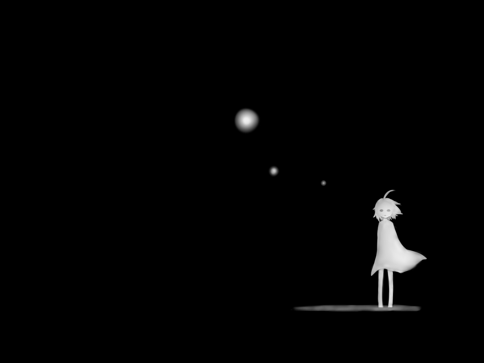Black and white sad lonely anime