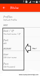 Memasukan Akun SSH di Aplikasi Eproxy