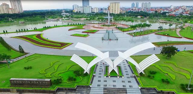 Toàn cảnh công viên xanh Hòa Bình
