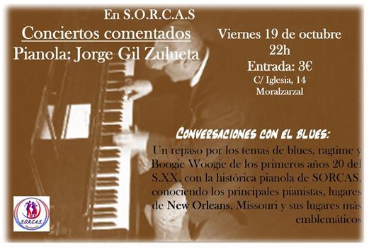 Concierto de esta semana en SORCAS (Moralzarzal): Viernes 19 conversaciones con el Blues + Un Piano de Cine