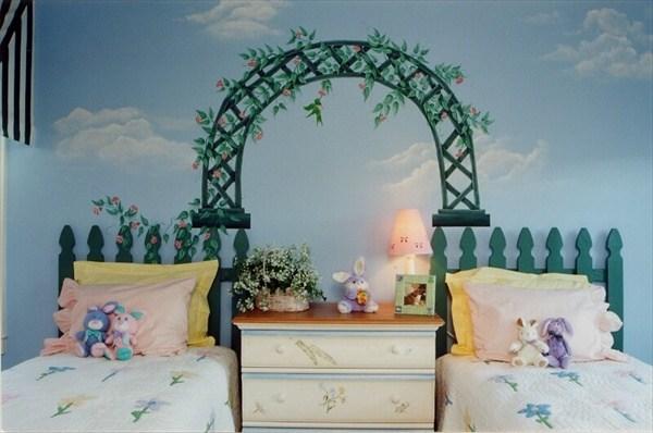 Lukisan dinding kamar bunga