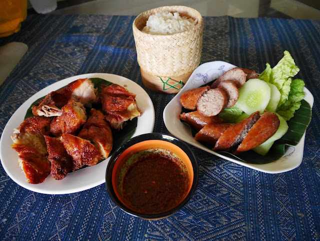 lao fried chicken, sausage, sticky rice, and spicy dipping sauce