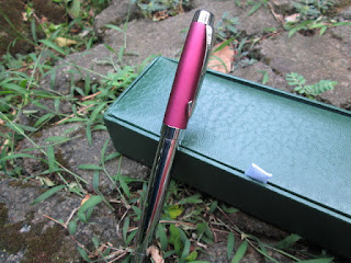 Pulpen Mewah MB Pens MB163 Pink silver Metal Pen With Luxury Box