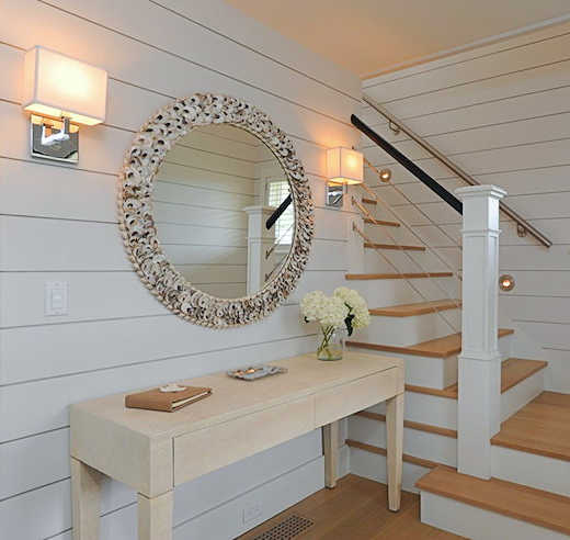 Round Oyster Shell Mirror Above Console Table Entryway Decor Idea